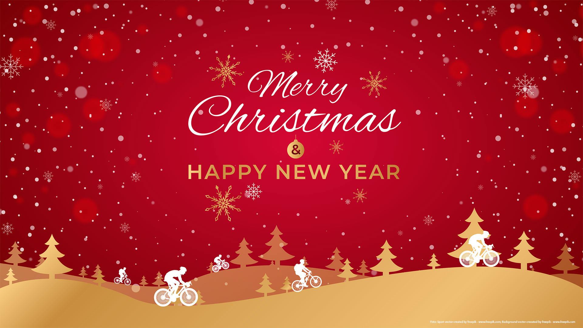 Nerry Christmas Happy News Year Banner mit Fahrrädern